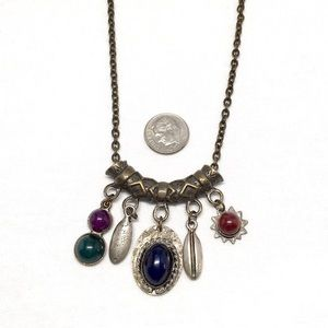 Jewelry - Vintage Crescent, Bead & Charm Necklace